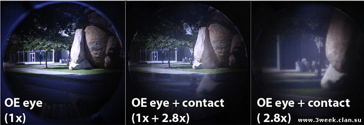 Обычное (слева), увеличенное (справа) и смешанное (посередине) изображение при взгляде через телескопические контактные линзы (фото: E. Tremblay, I. Stamenov et al / EPFL, UCSD)